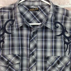 Helix Button Front Shirt Plaid Western Long Sleeve